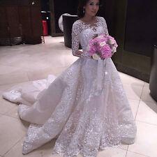 Weiß Elfenbein Spitze Brautkleider Hochzeitskleid Ballkleid Gr:34 36 38 40 42 ++