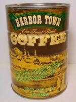 Old Vintage 1970s HARBOR TOWN COFFEE GRAPHIC 1 POUND COFFEE TIN PHILADELPHIA PA