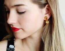 Kate Spade RARE PLAZA ATHENEE TOPAZ CITRINE GOLDEN double DROP EARRINGS DANGLE
