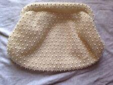 Beaded Purse Vintage 1950s Corde Bead Purse Off White/ivory Hinge Closure Clutch
