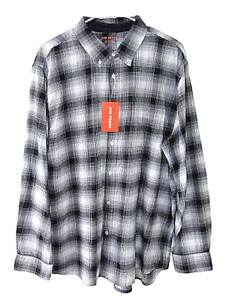 Joe Fresh Men's Size XL Black and White Plaid Long Sleeve Flannel Shirt