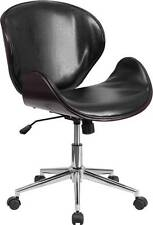 LOT OF 8 MID-BACK MAHOGANY WOOD SWIVEL CONFERENCE CHAIR IN BLACK LEATHER