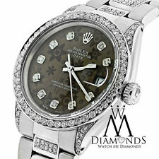 Diamond Rolex Date 34mm 5ct Brown Diamond Flower Dial 115200 Stainless Steel