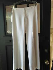 NWOT Banana Republic Sz10 Ivory Linen Blend Stretch-Fully Lined Pants-Front Zip