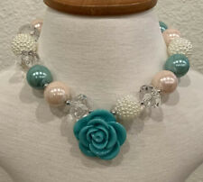 """NEW Bubblegum Necklace Kids Teal ROSE Chunky Beads Birthday Stretch Frozen 16"""""""