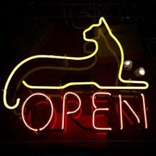 """Cat Open Neon Lamp Sign 17""""x14"""" Bar Light Glass Artwork Windows Handmade Decir"""
