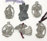 Angel Christmas Ornament Pewter Lot Of 6 Asstd Longaberger Seagull Gloria Duckin
