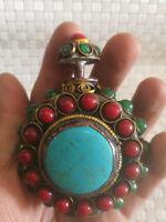 Vintage Handmade Tibetan Turquoise Coral Beads inlay Snuff Bottle