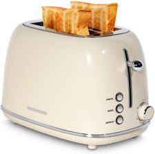 Redmond 2 Slice Toaster Retro Stainless Steel Toaster with Bagel, Cancel, Defros
