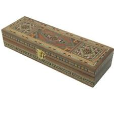More details for rectangle wooden mosaic jewellery trinket box gift handmade inlaid 24x8cm