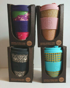 BAMBOO TRAVEL BEAKER Silicone Lid Clutch 400ml ECO COFFEE CUP Skull Leaves Stag