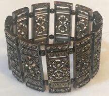 Fashion Mixed Metallic Marcasite Look Stretch Bracelet, NWOT