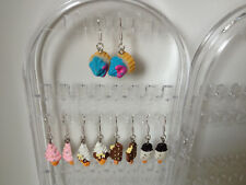 925 STERLING SILVER ICE CREAM CONE WHIPPY KITSCH DROP DANGLING EARRINGS *OFFER*