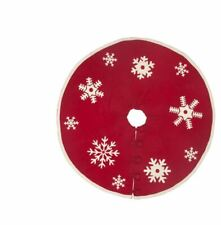 "NWT ARCADIA HOME 100% Wool Hand Crafted Red Snowflake 60"" Christmas Tree Skirt"