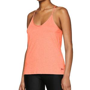 Under Armour Ladies UA Fashion Strappy Pink Tank Sleeveless Running Vest M