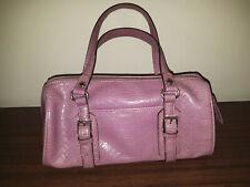 Liz Claiborne Ladies Barrel Bag Purse Handbag Lavender Faux Croc Buckle Accents