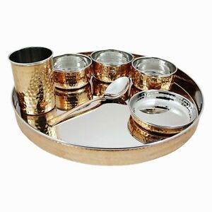 Copper & Steel Thali Dinner Set Food Daal Curry Kitchen Hotel Dining Tableware