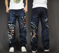 Men's Skate Baggy Loose Rap Hip Hop Jeans Denim Print Trousers Long Pants wolf 1