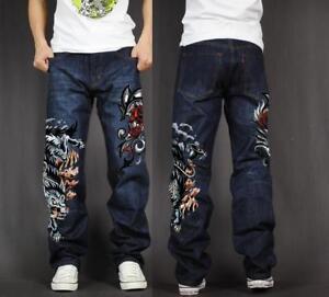 Men's Skate Baggy Loose Rap Hip Hop Jeans Denim Print Trousers Long Pants wolf 1