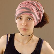 Holey Tube Head Wrap Headband Durag Bandana Extra Wide Stretch Salmon Pink Grey