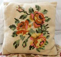 Vintage Needlepoint Square Floral Pink Orange Beige Clean Pillow Home Décor