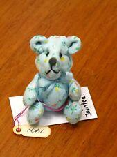 Mary Bures Sweet Blue Cotton Print Teddy Bear - Artisan Dollhouse Miniature