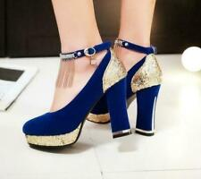 Womens Sequin Block High Heels Tassel Ankle Strap Pumps Platform Wedding Shoes