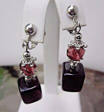 Vintage Lucite Cranberry Drop Clip On / Screw Earrings - Silver Tone