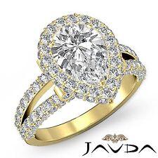 Halo Pear Diamond Split Shank Engagement Ring GIA F VS2 18k Yellow Gold 3.02ct