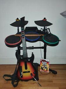 Nintendo wii guitar hero bundle Wireless Drum, Guitar, Microphone And Game