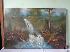 VINTAGE SIGNED R. THOMAS MOUNTAIN RIVER WATERFALL LANDSCAPE PAINTING ON CANVAS