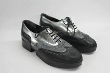 ROBERT CLERGERIE Ladies Black Silver Leather Oxford Brogue Shoes UK5 US6.5