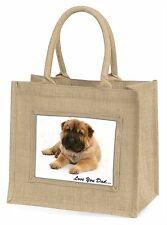 Bear Coat Shar-Pei 'Love You Dad' Large Natural Jute Shopping Bag Ch, DAD-110BLN