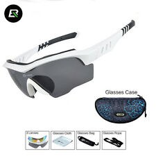 ROCKBROS Polarized Cycling Glasses Outdoor Anti-sweat Sunglasses White 3 Lens