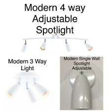 Modern White Chrome Detail 3 Way Spotlight Plate Kitchen Ceiling Spot Light K49