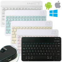 Rechargeable Wireless Bluetooth Keyboard for iOS Android PC iPad Tablet Slim