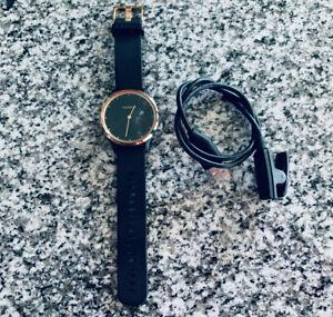Garmin Vivomove HR Sport Smartwatch Black Silicone Band - Rose Gold