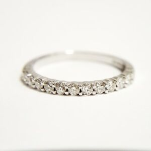 18ct W Gold Claw   Setting Half Eternity Band With Diamonds 0.26ct Size H