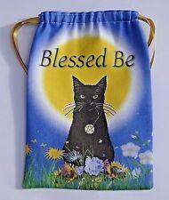 Tarot card bag, Litha Black Cat design, for fairy angel & Wicca tarot cards