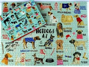A-Z DOGS Puzzle Dachshound Greyhound Bulldog 1000 Piece Galison POSTER PreOwned