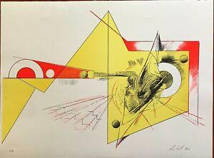 Amilcare Rambelli  litografia Composizione Giallo Rossa 62x46 firmata numerata