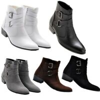 Vintage men's casual cowboy ankle boots chukka zipper buckle strap dress shoes
