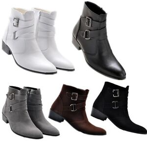 Fashion mens western cowboy ankle boots chukka zipper buckle strap dress shoes