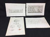 Lotto di 4 stampe antiche di Pompei ed Ercolano
