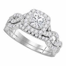 14k Princesa Oro Blanco Diamante Giro Boda Set de Anillo de Compromiso