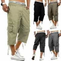 Mens 3/4 Long Length Shorts Elasticated Waist Cargo Combat Three Quarter Shorts