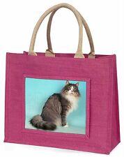 Norwegian Forest Cat Large Pink Shopping Bag Christmas Present Idea, AC-54BLP