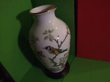 STUNNING FRANKLIN PORCELAIN VASE THE WOODLAND BIRD BY BASIL EDE, BOXED