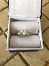 Diamonique Engagement Ring Sz 7.25 14K White Gold 2.45 ct. Multi-stone