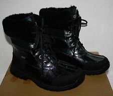 NIB Girls UGG Australia Butte Black Patent Glitter Boots Size 5